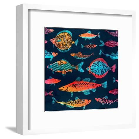 Fish on a Deep Blue Background - Watercolor-Tasiania-Framed Art Print