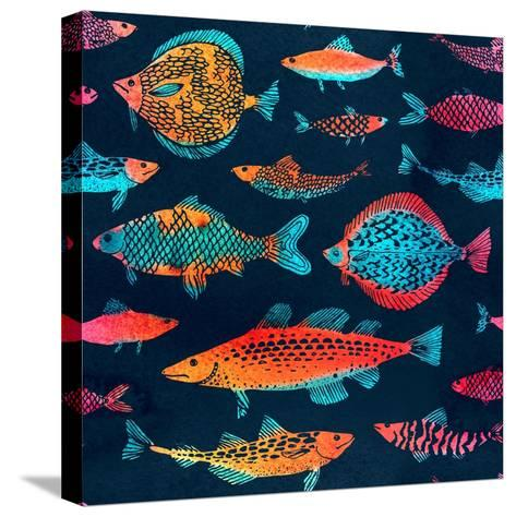 Fish on a Deep Blue Background - Watercolor-Tasiania-Stretched Canvas Print