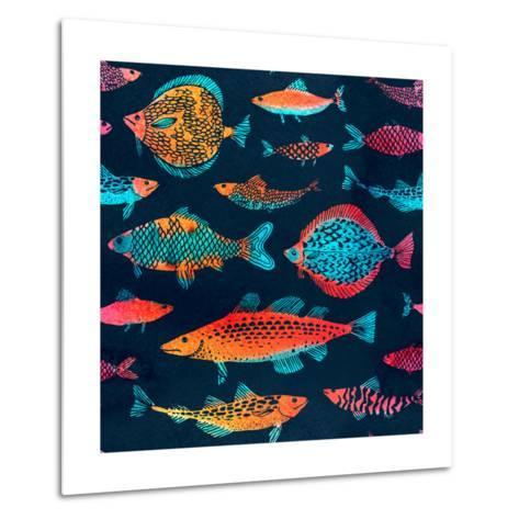 Fish on a Deep Blue Background - Watercolor-Tasiania-Metal Print