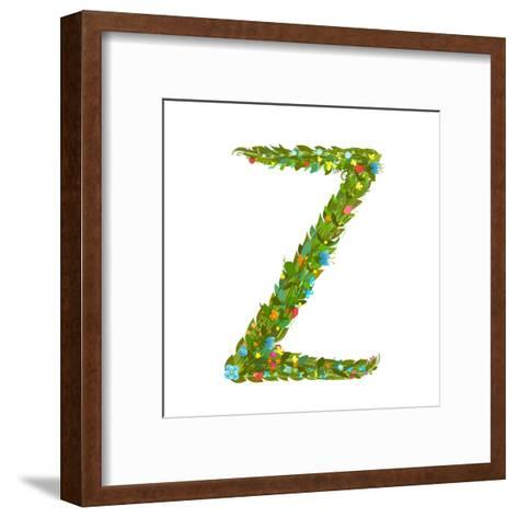Flower ABC Sign Z. Floral Summer Colorful Intricate Calligraphy Design Element. Vector Illustration-Popmarleo-Framed Art Print