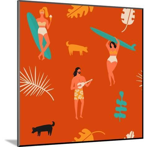 Surfing Pattern with Girls Carrying Surfboards and a Guy Playing Music-Tasiania-Mounted Art Print