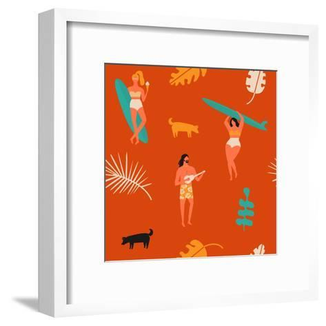 Surfing Pattern with Girls Carrying Surfboards and a Guy Playing Music-Tasiania-Framed Art Print