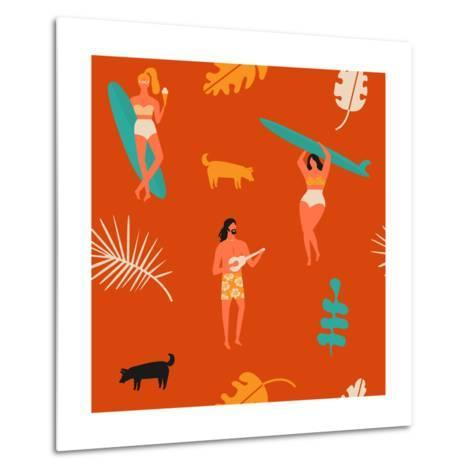 Surfing Pattern with Girls Carrying Surfboards and a Guy Playing Music-Tasiania-Metal Print