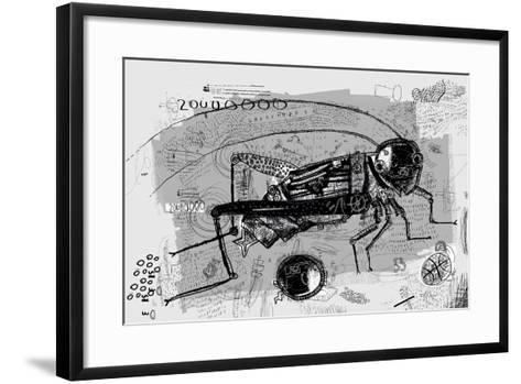 Symbolic Image of Grasshopper Which is Composed of Many Parts-Dmitriip-Framed Art Print