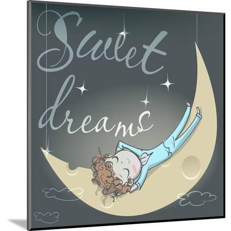 Cute Sleeping Girl on the Moon-Elena Barenbaum-Mounted Art Print