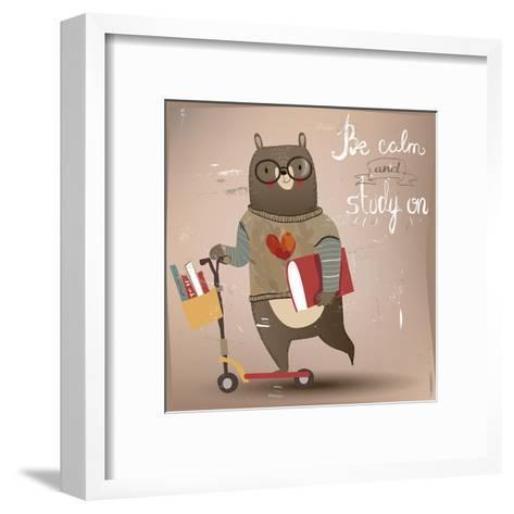 Cartoon Bear on the Scooter-Elena Barenbaum-Framed Art Print