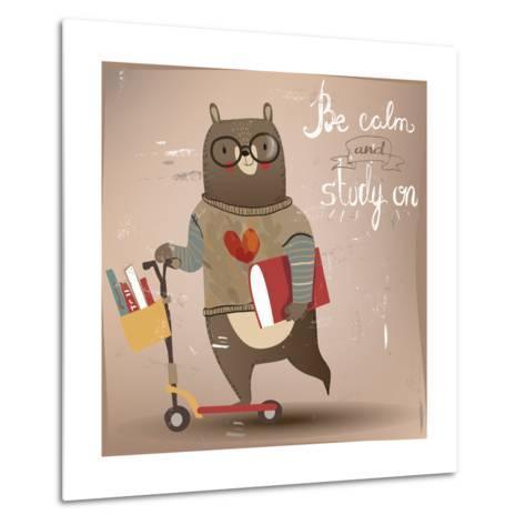 Cartoon Bear on the Scooter-Elena Barenbaum-Metal Print
