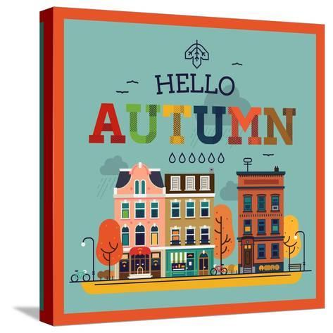 Colorful Vector Hello Autumn Seasonal Background with Autumn City Landscape | Autumn Greeting Card,-Mascha Tace-Stretched Canvas Print