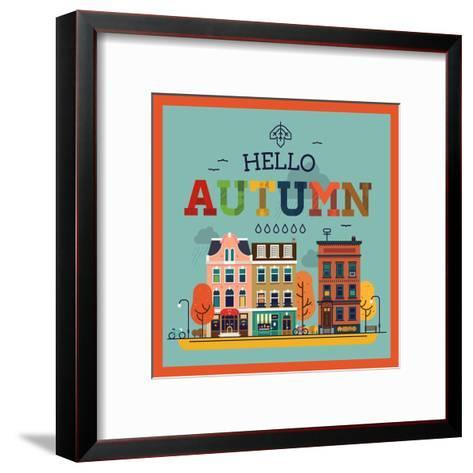 Colorful Vector Hello Autumn Seasonal Background with Autumn City Landscape | Autumn Greeting Card,-Mascha Tace-Framed Art Print