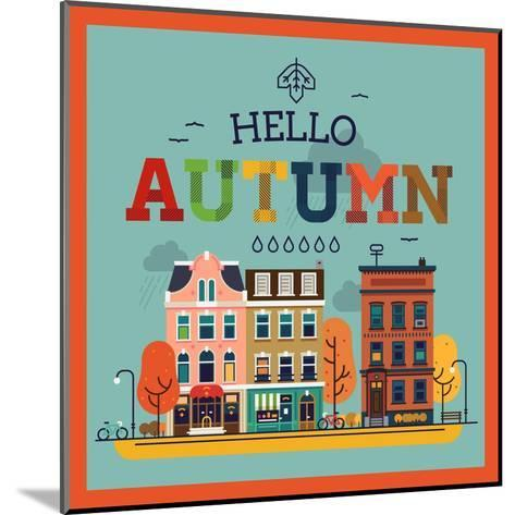 Colorful Vector Hello Autumn Seasonal Background with Autumn City Landscape | Autumn Greeting Card,-Mascha Tace-Mounted Art Print
