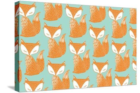 Fox Background Vector/Illustration- lyeyee-Stretched Canvas Print
