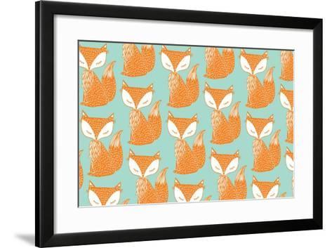 Fox Background Vector/Illustration- lyeyee-Framed Art Print