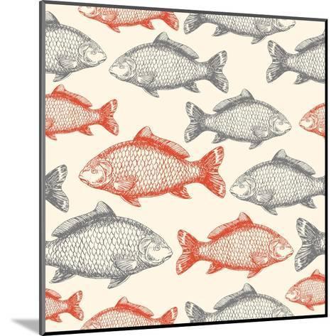 Carp Fish Asian Style Seamless Pattern. Vector Illustration-adehoidar-Mounted Art Print