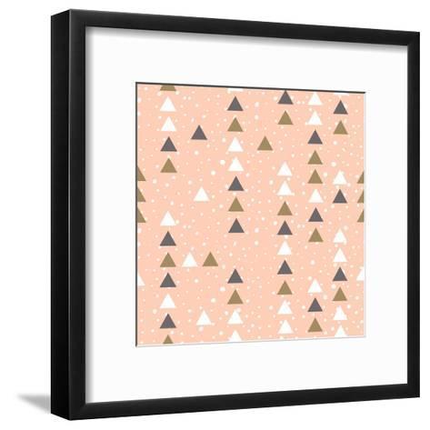 Pink Hipster Geometrical Seamless Vector Pattern.-Alenka Karabanova-Framed Art Print