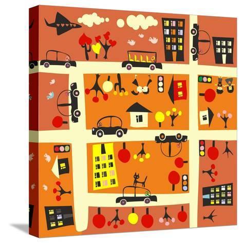 Seamless Street in Autumn-Anastasiia Kucherenko-Stretched Canvas Print