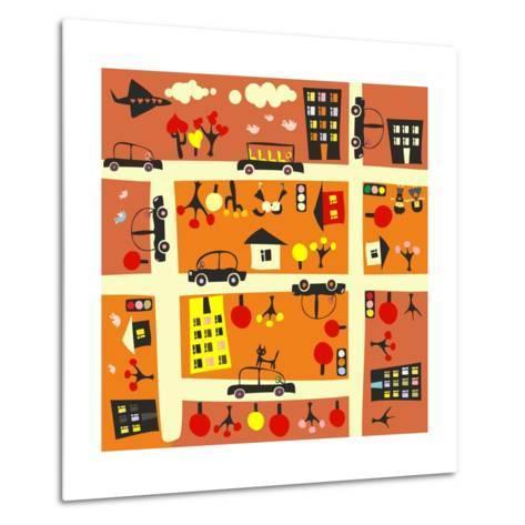 Seamless Street in Autumn-Anastasiia Kucherenko-Metal Print