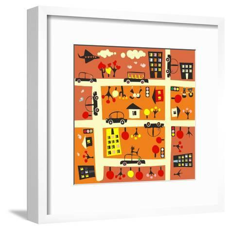 Seamless Street in Autumn-Anastasiia Kucherenko-Framed Art Print