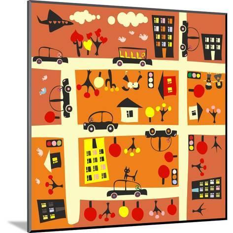 Seamless Street in Autumn-Anastasiia Kucherenko-Mounted Art Print