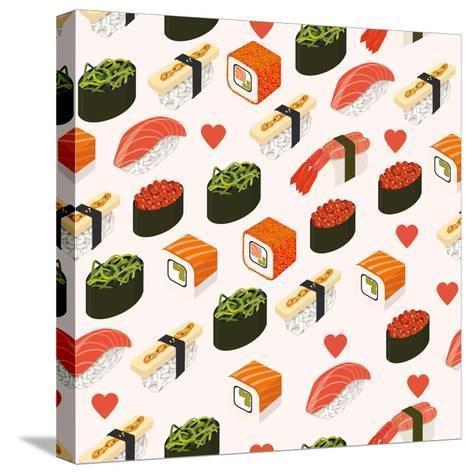 Vector Sushi Menu Template with Philadelphia Roll, California Roll, Sake Nigiri, Tamago Nigiri Isol-Svetlana Maslova-Stretched Canvas Print