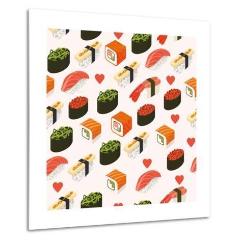 Vector Sushi Menu Template with Philadelphia Roll, California Roll, Sake Nigiri, Tamago Nigiri Isol-Svetlana Maslova-Metal Print