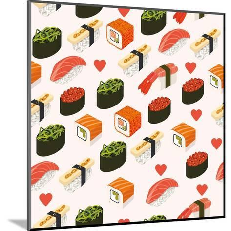 Vector Sushi Menu Template with Philadelphia Roll, California Roll, Sake Nigiri, Tamago Nigiri Isol-Svetlana Maslova-Mounted Art Print