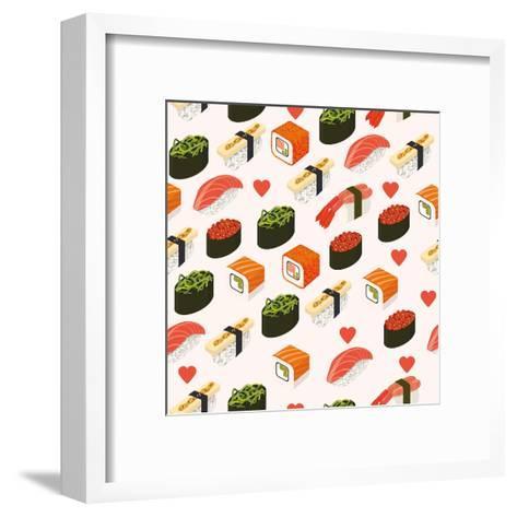 Vector Sushi Menu Template with Philadelphia Roll, California Roll, Sake Nigiri, Tamago Nigiri Isol-Svetlana Maslova-Framed Art Print