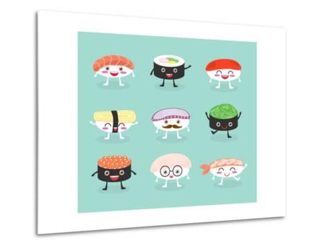 Sushi Set, Cute Sushi Set, Japanese Food, Sushi Icons, Vector Cartoon. Cartoon Characters, Vector I-What's My Name-Metal Print