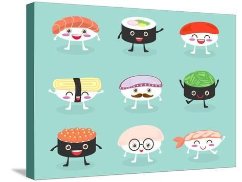 Sushi Set, Cute Sushi Set, Japanese Food, Sushi Icons, Vector Cartoon. Cartoon Characters, Vector I-What's My Name-Stretched Canvas Print