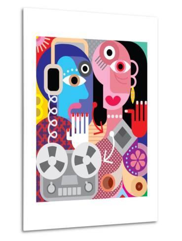 Couple with Retro Recorder - Vector Illustration.-danjazzia-Metal Print