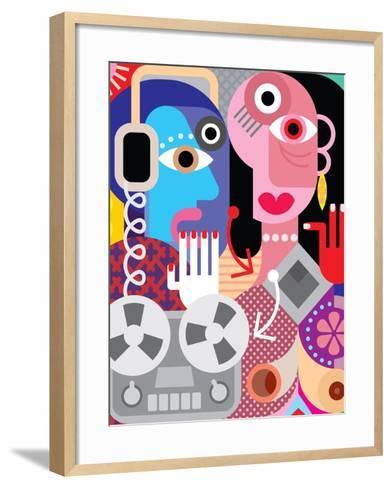 Couple with Retro Recorder - Vector Illustration.-danjazzia-Framed Art Print