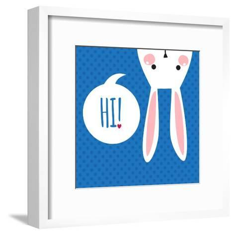 Greeting Card with with White Easter Rabbit. Funny Bunny. Easter Bunny.- Inoka-Framed Art Print