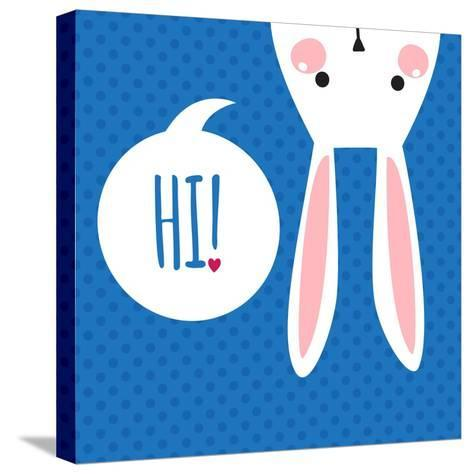 Greeting Card with with White Easter Rabbit. Funny Bunny. Easter Bunny.- Inoka-Stretched Canvas Print
