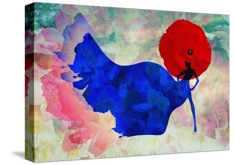 Abstract Sketch of a Woman in Navy  Blue,  Floral Dress and  Red Hat in Form Poppy, Color Fashion P-Viktoriya Panasenko-Stretched Canvas Print