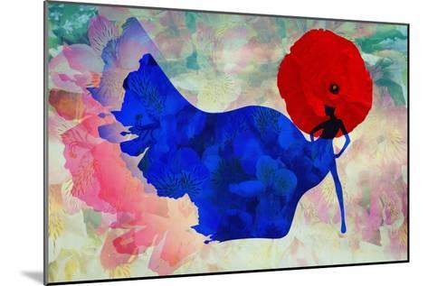 Abstract Sketch of a Woman in Navy  Blue,  Floral Dress and  Red Hat in Form Poppy, Color Fashion P-Viktoriya Panasenko-Mounted Art Print