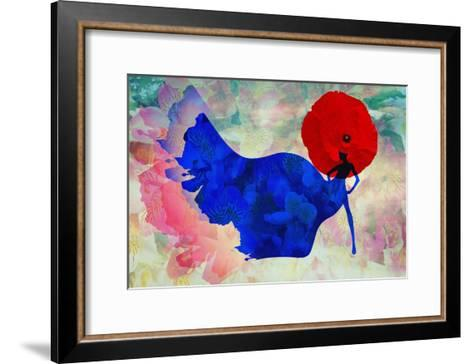 Abstract Sketch of a Woman in Navy  Blue,  Floral Dress and  Red Hat in Form Poppy, Color Fashion P-Viktoriya Panasenko-Framed Art Print
