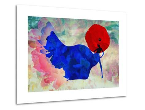 Abstract Sketch of a Woman in Navy  Blue,  Floral Dress and  Red Hat in Form Poppy, Color Fashion P-Viktoriya Panasenko-Metal Print