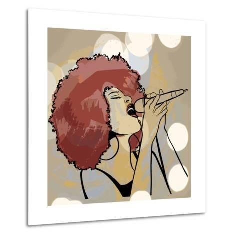 Vector Illustration of an Afro American Jazz Singer on Grunge Background-isaxar-Metal Print