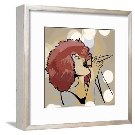Vector Illustration of an Afro American Jazz Singer on Grunge Background-isaxar-Framed Art Print