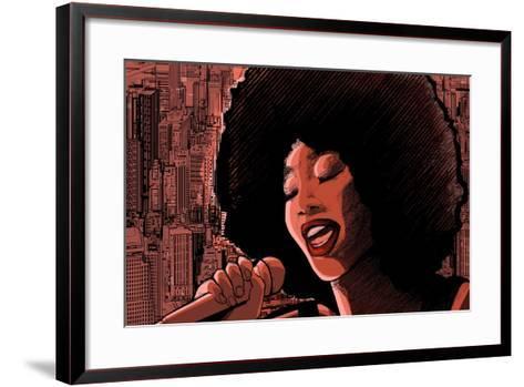 Vector Illustration of an Afro American Jazz Singer-isaxar-Framed Art Print