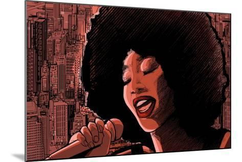 Vector Illustration of an Afro American Jazz Singer-isaxar-Mounted Art Print