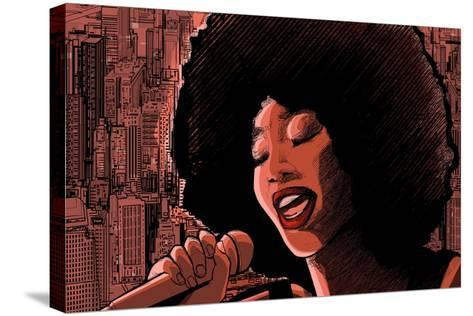 Vector Illustration of an Afro American Jazz Singer-isaxar-Stretched Canvas Print
