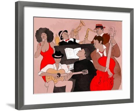 Vector Illustration of a Jazz Band-isaxar-Framed Art Print