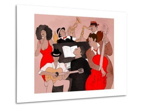 Vector Illustration of a Jazz Band-isaxar-Metal Print