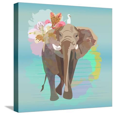Abstract Watercolor Illustration of a Big Elephant with Small White Bird , Background Sky and the R-Viktoriya Panasenko-Stretched Canvas Print