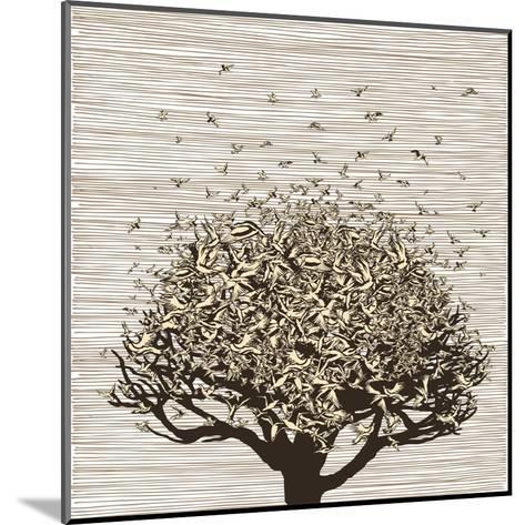 Birds like Leaves on a Tree-RYGER-Mounted Art Print