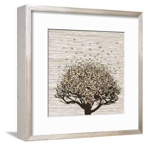 Birds like Leaves on a Tree-RYGER-Framed Art Print