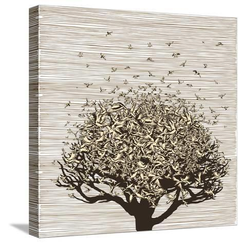 Birds like Leaves on a Tree-RYGER-Stretched Canvas Print