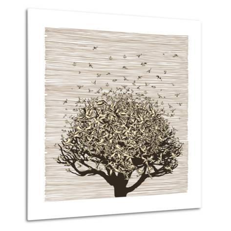 Birds like Leaves on a Tree-RYGER-Metal Print