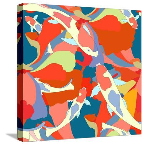 Abstract Illustration Fish Koi (Japanese, Chinese Carp) in Pond with Floral Colorful Algae (The Col-Viktoriya Panasenko-Stretched Canvas Print