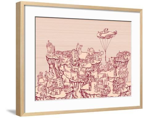 Ancient Steampunk City on the Hills.-RYGER-Framed Art Print